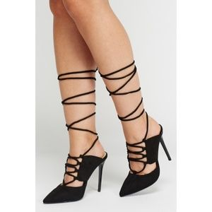 Point Toe Lace Up Black Suede Heel Stiletto